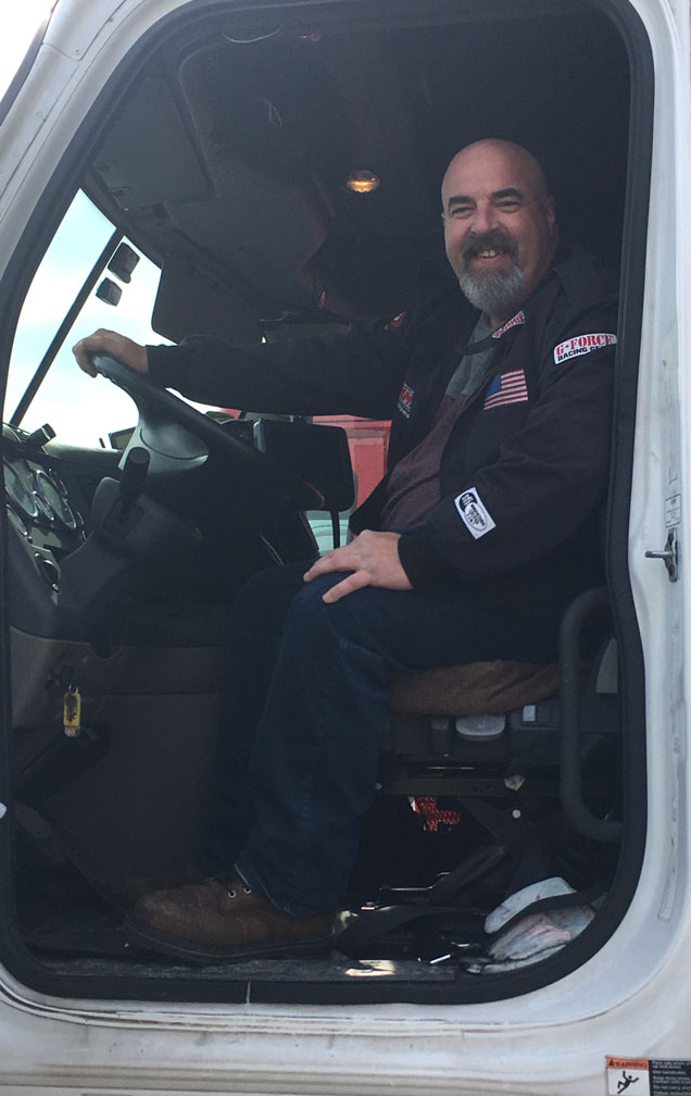 Joshua Martin our truck driver smiling on the job