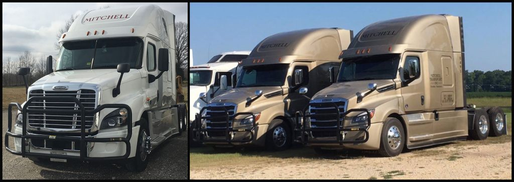 Our white and tan trucks that our drivers use
